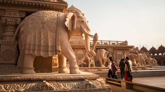 A view of the exquisite architecture and gardens of the famed Akshardham Temple Image courtesy Akshardham.com