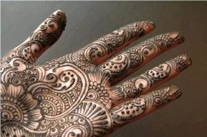 Mehndi - married women in India often apply henna on their hands during festivals and weddings